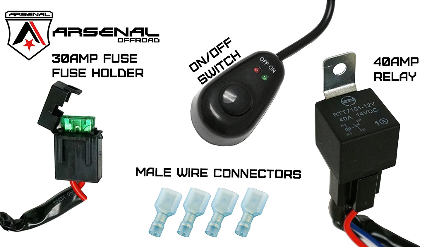 #1 nal Offroad LED Light Bar Universal Wiring Harness - 40 Amp Relay F Fog Light Switch And Relay Wiring Harness on
