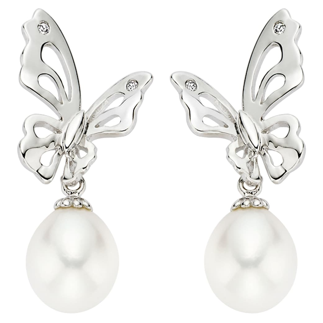 Pearlyta  Sterling Silver Children's Freshwater Pearl Butterfly Drop Earrings (7-8 mm) - White