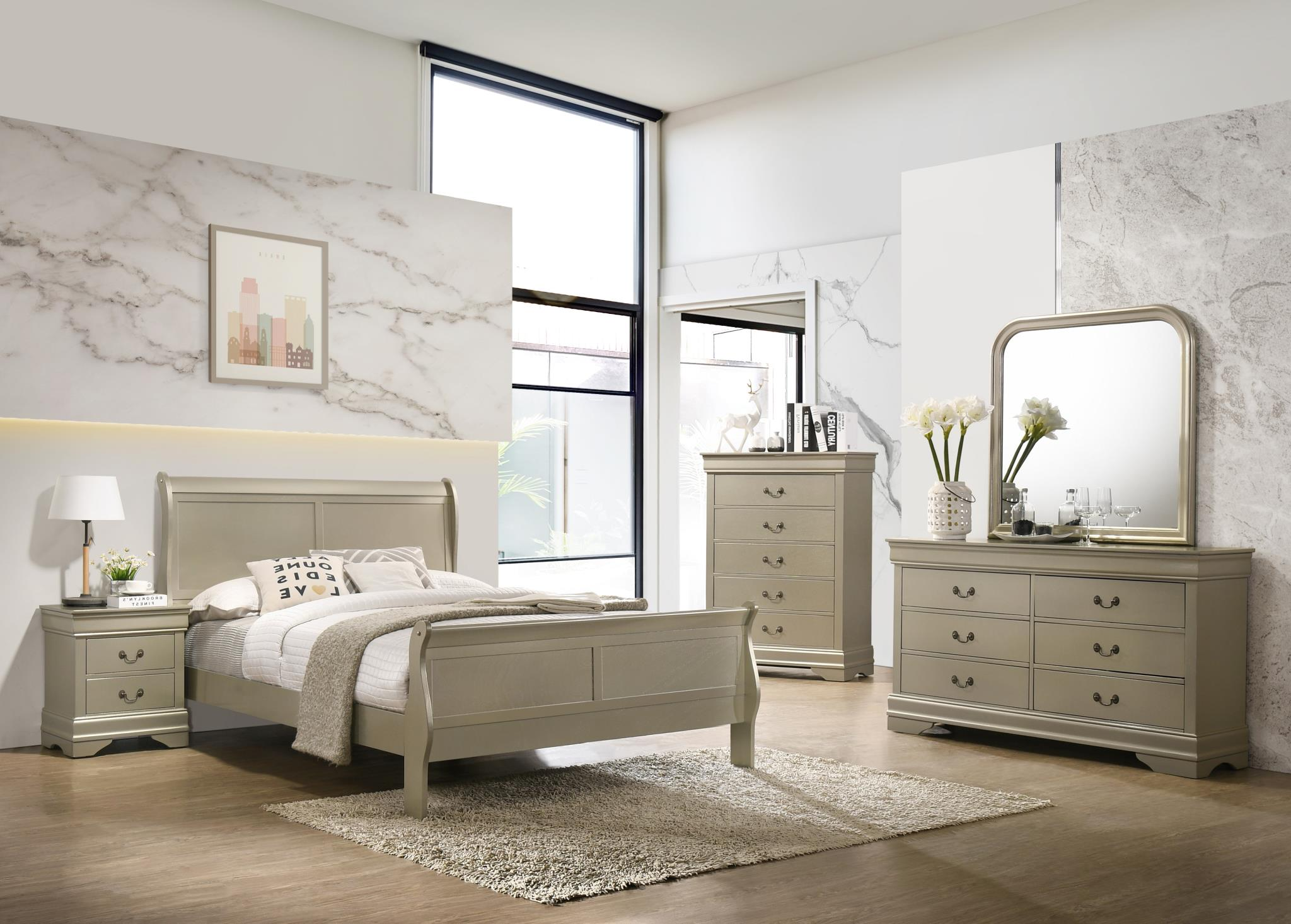 modern sleigh bedroom set gold 4pc queen bed mirror