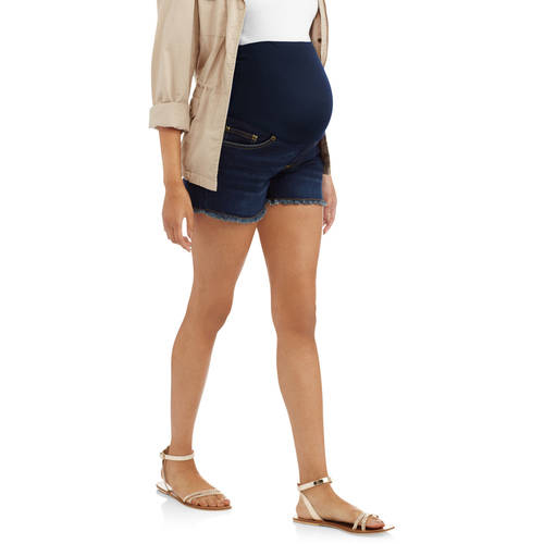 Maternity Full Panel Denim Shorts with Frayed Hem and Embroidered Back Pockets-- Available in Plus Size by Generic