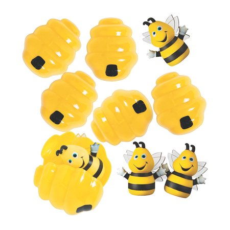 Fun Express - Busy Bee Finger Puppet Filled Easter Egg for Easter - Party Supplies - Pre - Filled Party Favors - Pre - Filled Plastic Containers - Easter - 12 Pieces