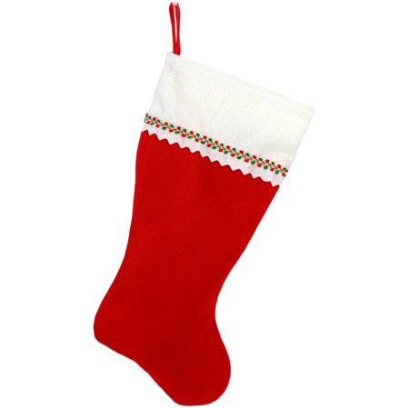 Christmas Stocking, Red and White Felt - Monogrammed Stocking