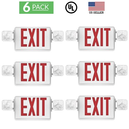Sunco Lighting 6 Pack Emergency Single / Double Sided EXIT Sign LED Light Fixture With Dual Head Lights Plus Back Up Battery Pack, Commercial, Fire Resistant US Standard Red Letter Light - UL Listed