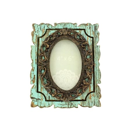 Western Moments Photo Frame 4 x 6 Antique Oval Turquoise 94018 - Western Frame