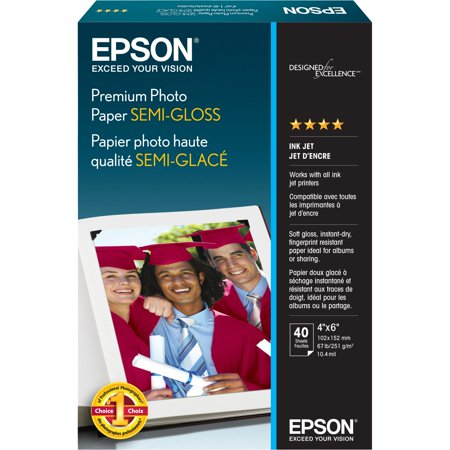 Epson Print S041982 Prem Photo Paper Semi Gloss 4X6 Borderls, 40 Sheets