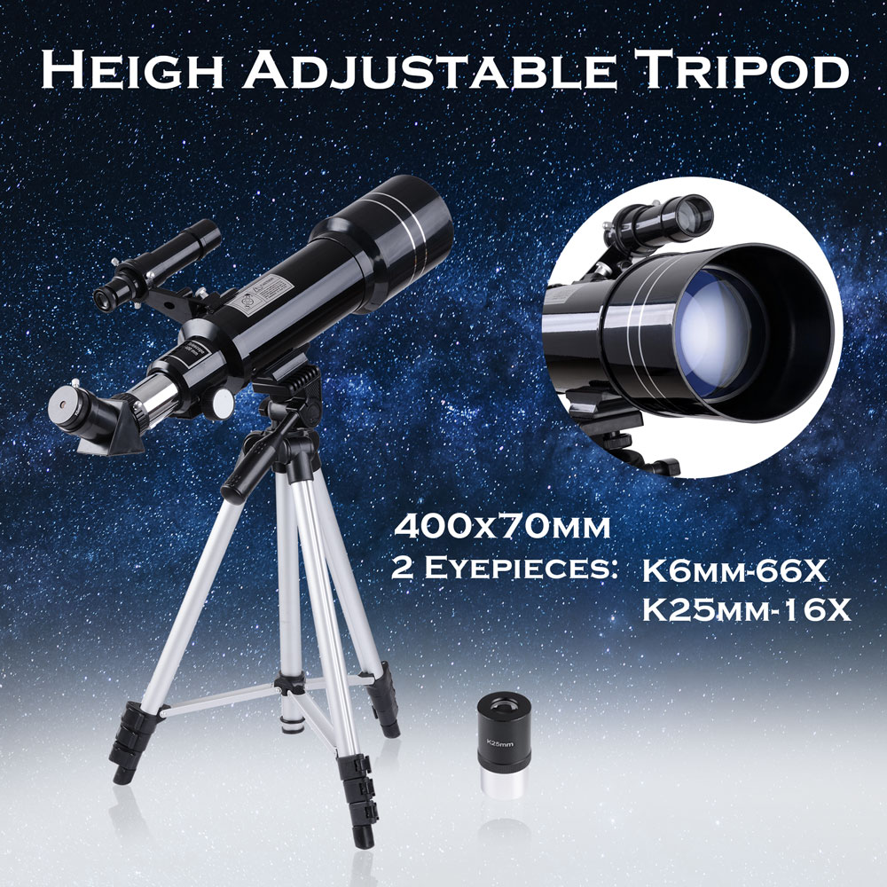 400x70mm Astronomical Refractor Telescope Refractive Spotting Scope Eyepieces Tripod Kids Beginners