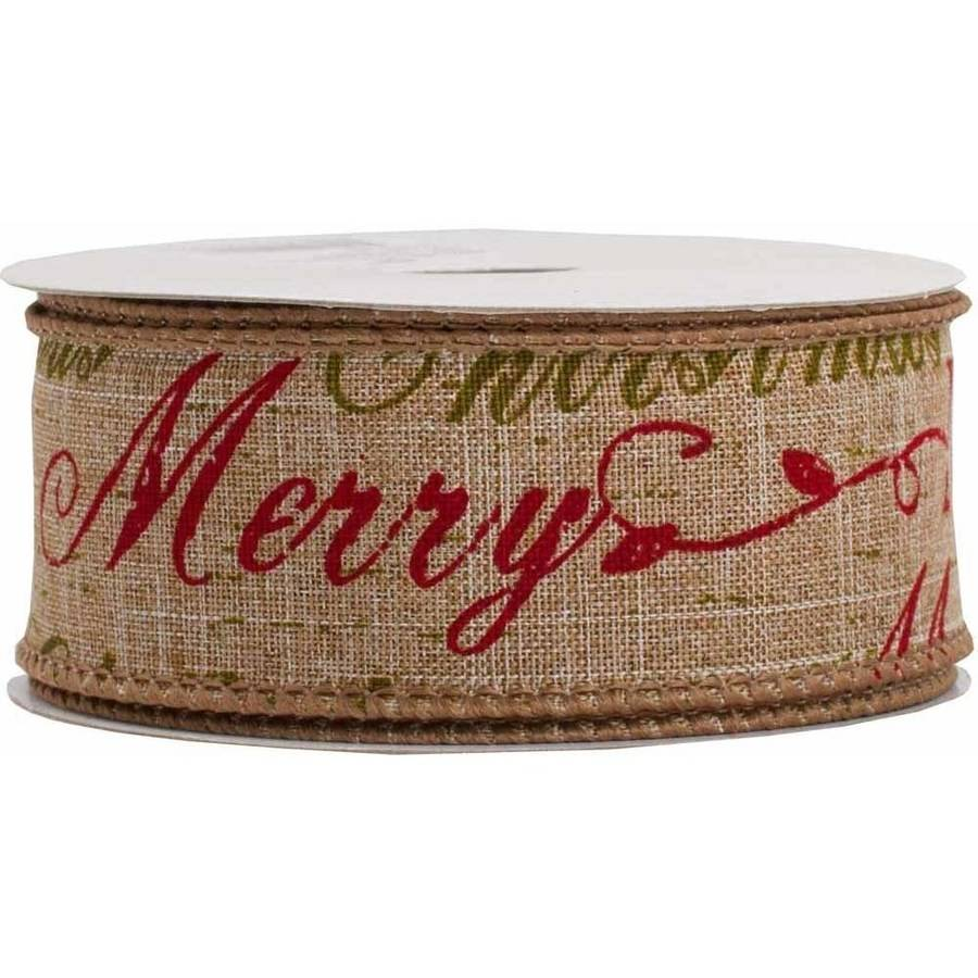 "JAM Paper Wire Edged Ribbon, 1-1/2"" x 10 yds, Natural Brown Merry Christmas, Sold Individually"
