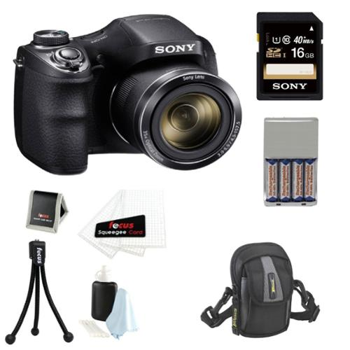 Sony DSC-H300/B High zoom digital camera Black + 16GB Class 10 SD Memory Card + Small System Case  +  Flexible Tripod, M