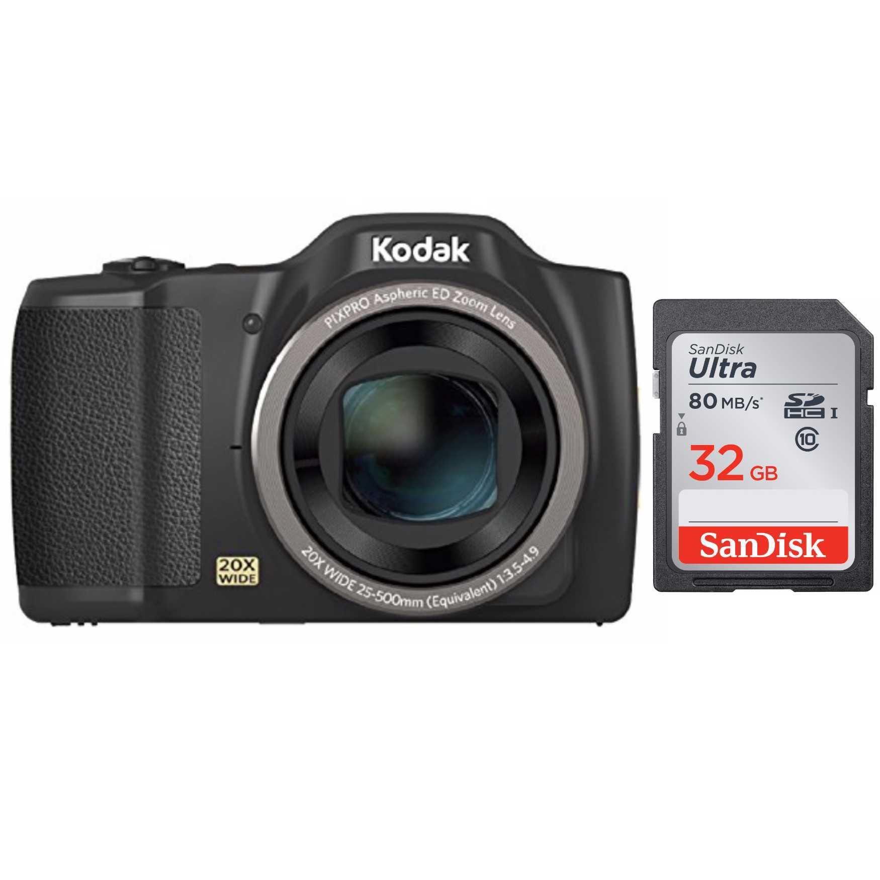 Kodak PIXPRO FZ201 Friendly Zoom 16MP Digital Camera (Black) + SanDisk Ultra 32GB 80MB s SD Card by Kodak