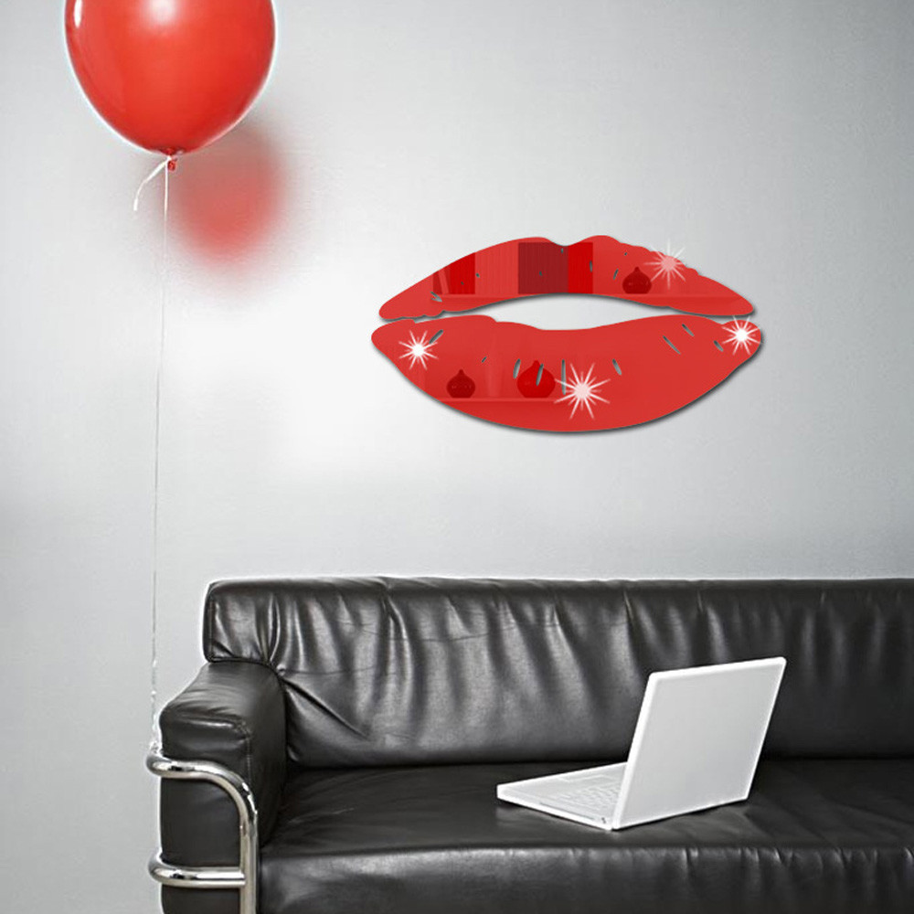 Removable Lips Mirror Wall Stickers Decal Art PVC Home Room Decoration DIY
