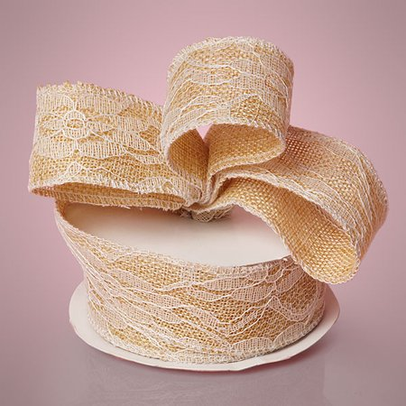 Ivory 2-1/2 inches x 10 yards Lace Burlap Rustic Wedding Country Ribbon - Lace Ribbon Bulk