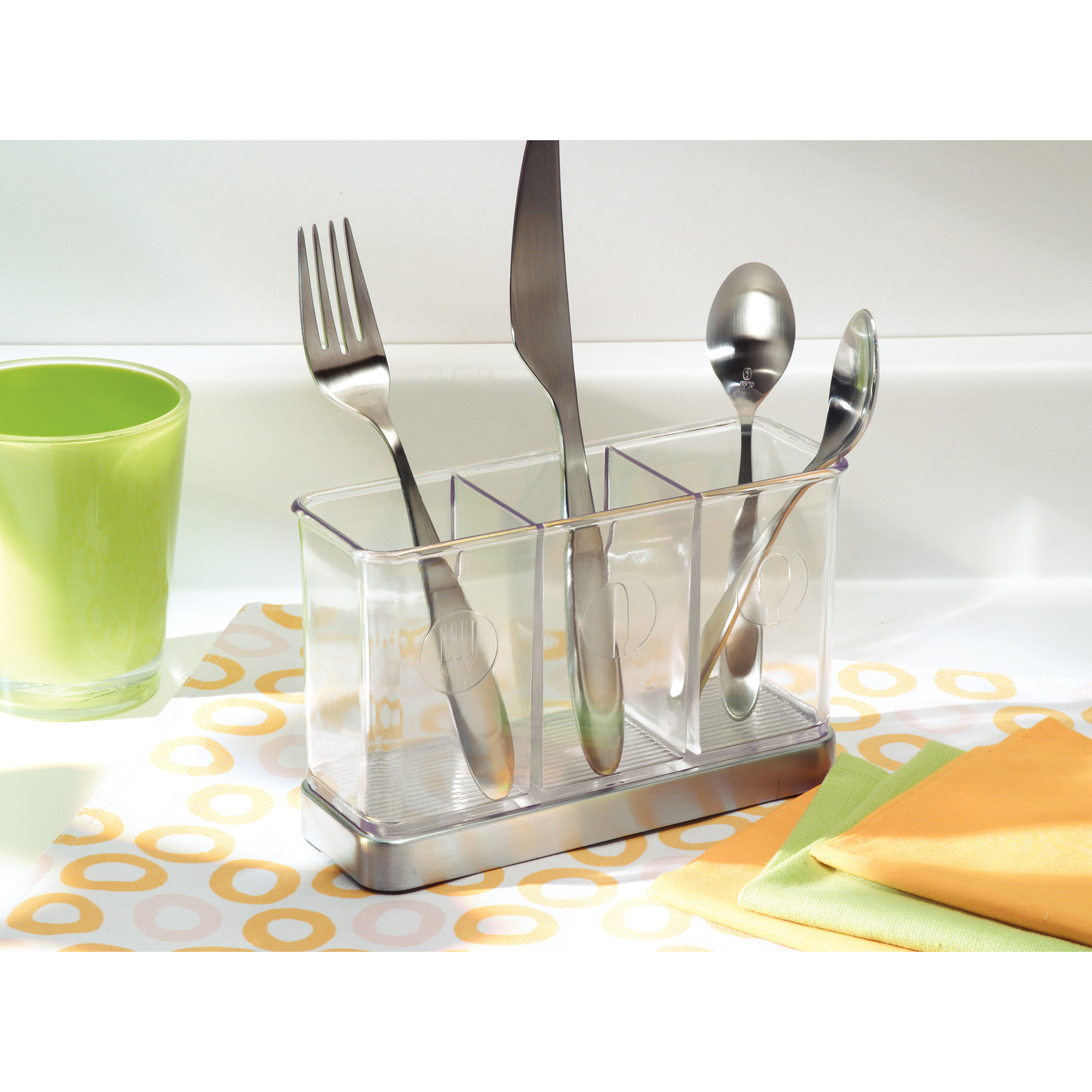 InterDesign Forma Utensil, Spatula, Silverware Holder for Kitchen Countertop Storage, Brushed Stainless Steel and Clear