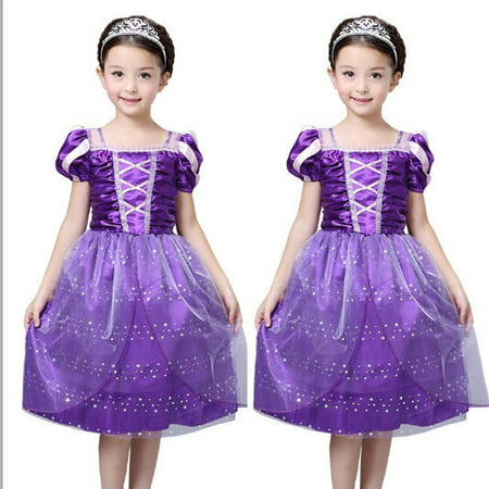 Fairy Tale Fashion Girls New Princess Rapunzel Party Costume Dress Cosplay Dress 3-10Y
