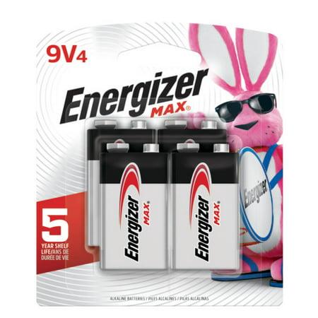 9v Battery Flashlight (Energizer MAX Alkaline, 9V Batteries, 4 Pack)