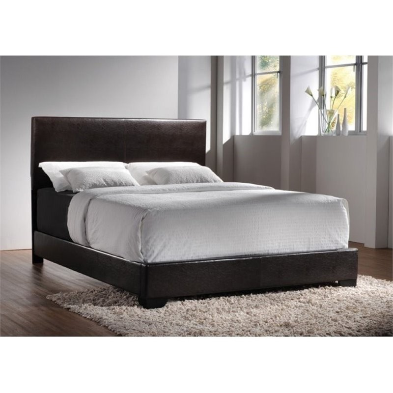 Bowery Hill Upholstered King Platform Bed in Cappuccino by Bowery Hill