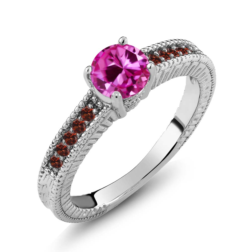 1.20 Ct Round Pink Created Sapphire Red Garnet 14K White Gold Engagement Ring by