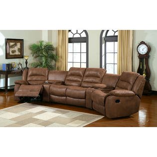Manchester Reclining Light Brown Leather like fabric sectional Sofa