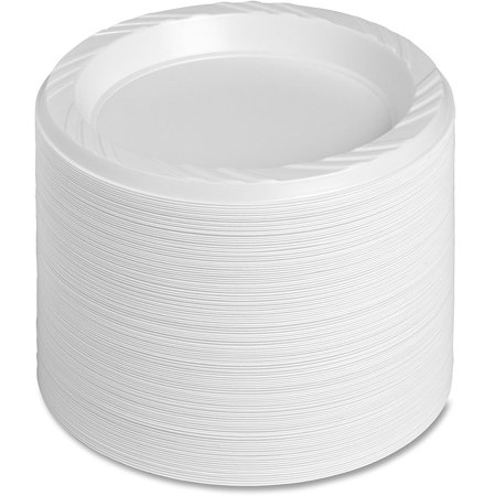Genuine Joe Reusable Plastic Plates, White, 6u0022, 125 pack, GJO10327