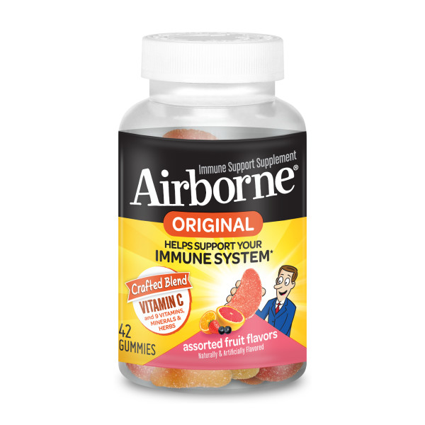 Airborne Assorted Fruit Flavored Gummies 42 Count 750mg Of Vitamin C And Minerals Herbs Immune Support Packaging May Vary Walmart Com Walmart Com