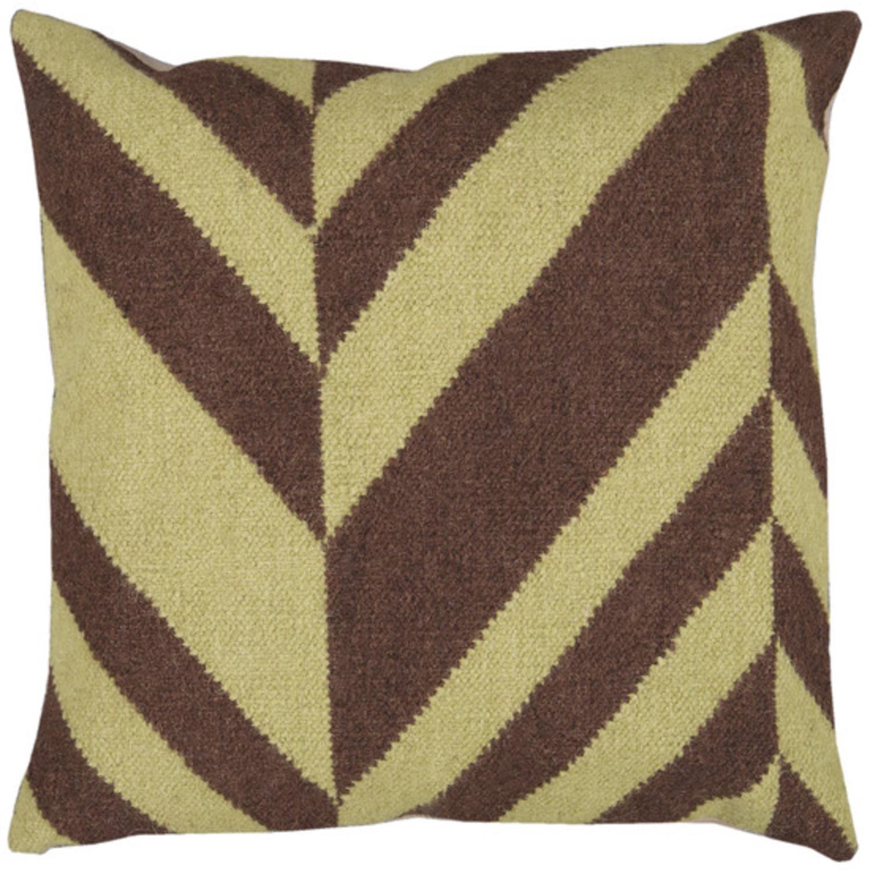 "22"" Coffee Bean Brown and Lima Bean Green Chevron Decorative Throw Pillow"