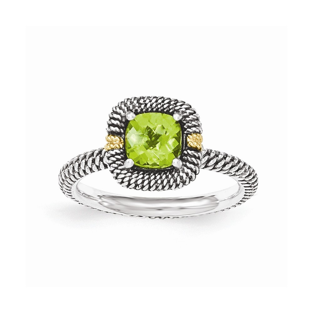 14K Gold and Sterling Silver with Peridot Cushion Ring Size-7