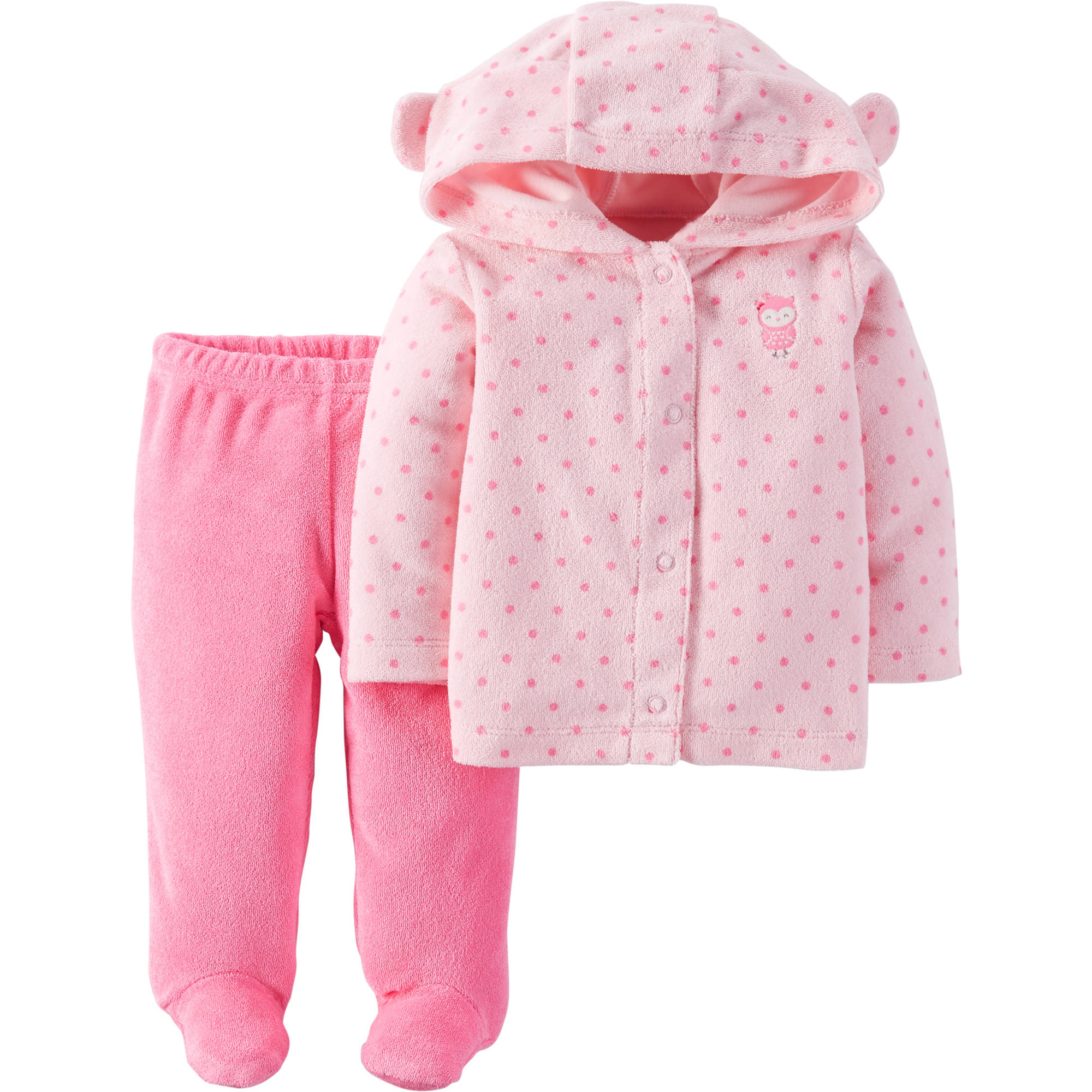 Child Of Mine by Carter's Newborn Baby Girl Footed Pants And Hooded Cardigan 2-Piece Outfit Set