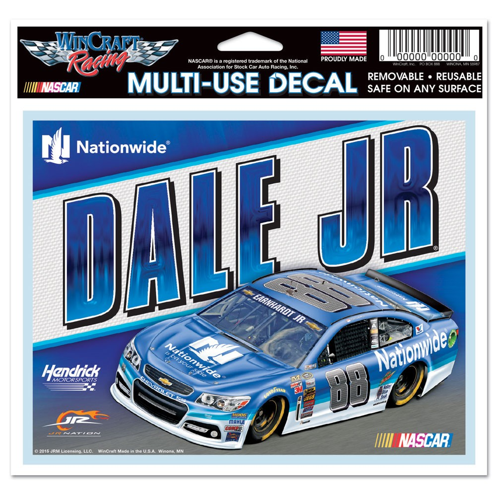 Dale Earnhardt Jr. Official NASCAR 5 inch  x 6 inch  MultiUse Car Decal by WinCraft