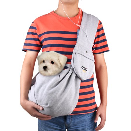 Small Pet Shoulder Bag Sling Carrier with Pouch Adjustable Strap for 12 Lbs Dog Cat Rabbit, Gray ()