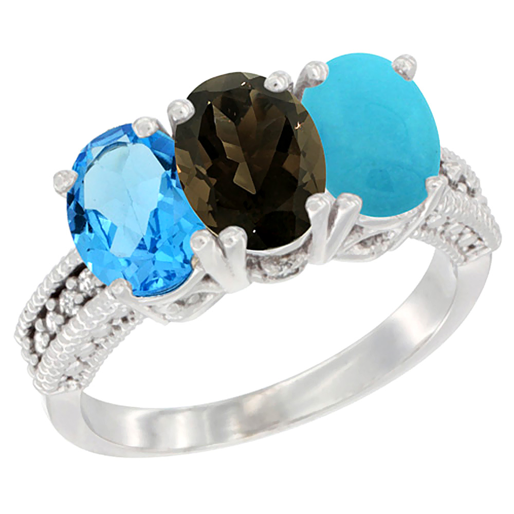 14K White Gold Natural Swiss Blue Topaz, Smoky Topaz & Turquoise Ring 3-Stone 7x5 mm Oval Diamond Accent, sizes 5 10 by WorldJewels