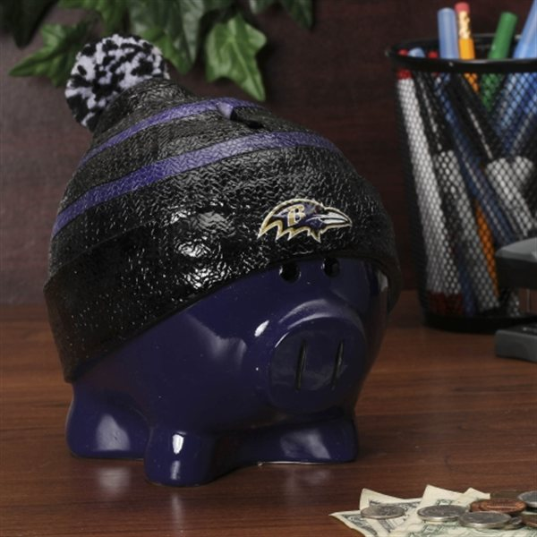 Baltimore Ravens Piggy Bank Large With Hat by