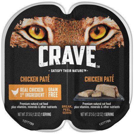 (24 Pack) CRAVE Grain Free Adult High Protein Wet Cat Food Pate Chicken, 2.6 oz. Twin-Pack Tray