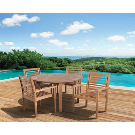 Milano FSC Eucalyptus Wood 5-Piece Round Patio Dining Set with Stackable Chairs, Seats 4 ()