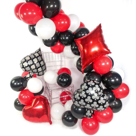 Casino Party Decorations, 54 pcs Red Balloons Black Balloons White Balloons Mylar Balloons for Las Vegas Party Decorations, Casino Theme Party Supplies, Casino Night, Casino Birthday Party - Las Vegas Themed Dress Up