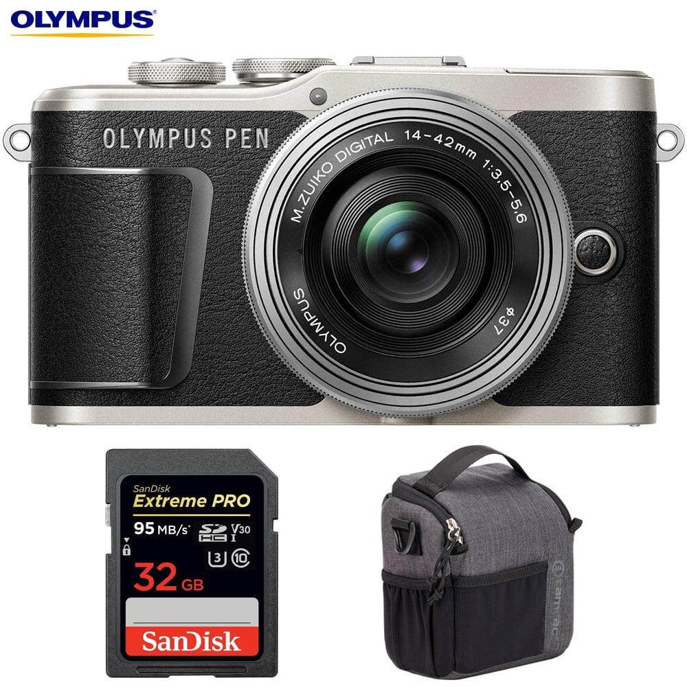 Olympus V205092BU010 PEN E-PL9 16.1 MP Wi-Fi 4K Mirrorless Camera (Onyx Black) w  Silver 14-42mm F3.5-5.6 EZ... by Olympus