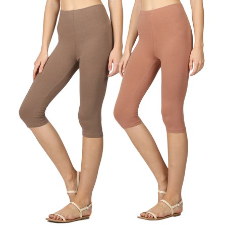 Women & Plus Essential Basic Cotton Spandex Stretch Below Knee Length Capri Leggings