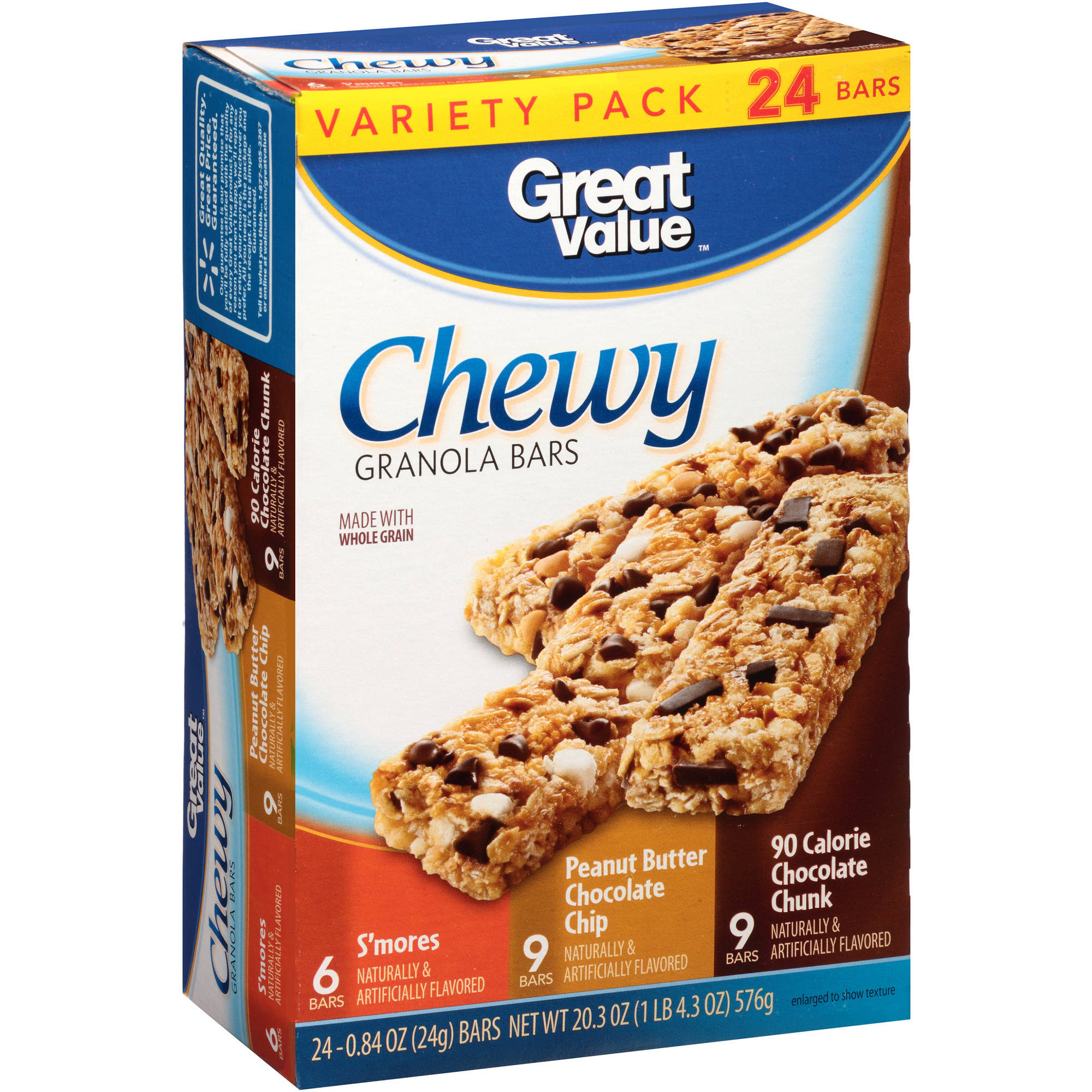 Great Value Chocolate Chunk Chewy Granola Bars Variety Pack, 0.84 oz, 24 ct