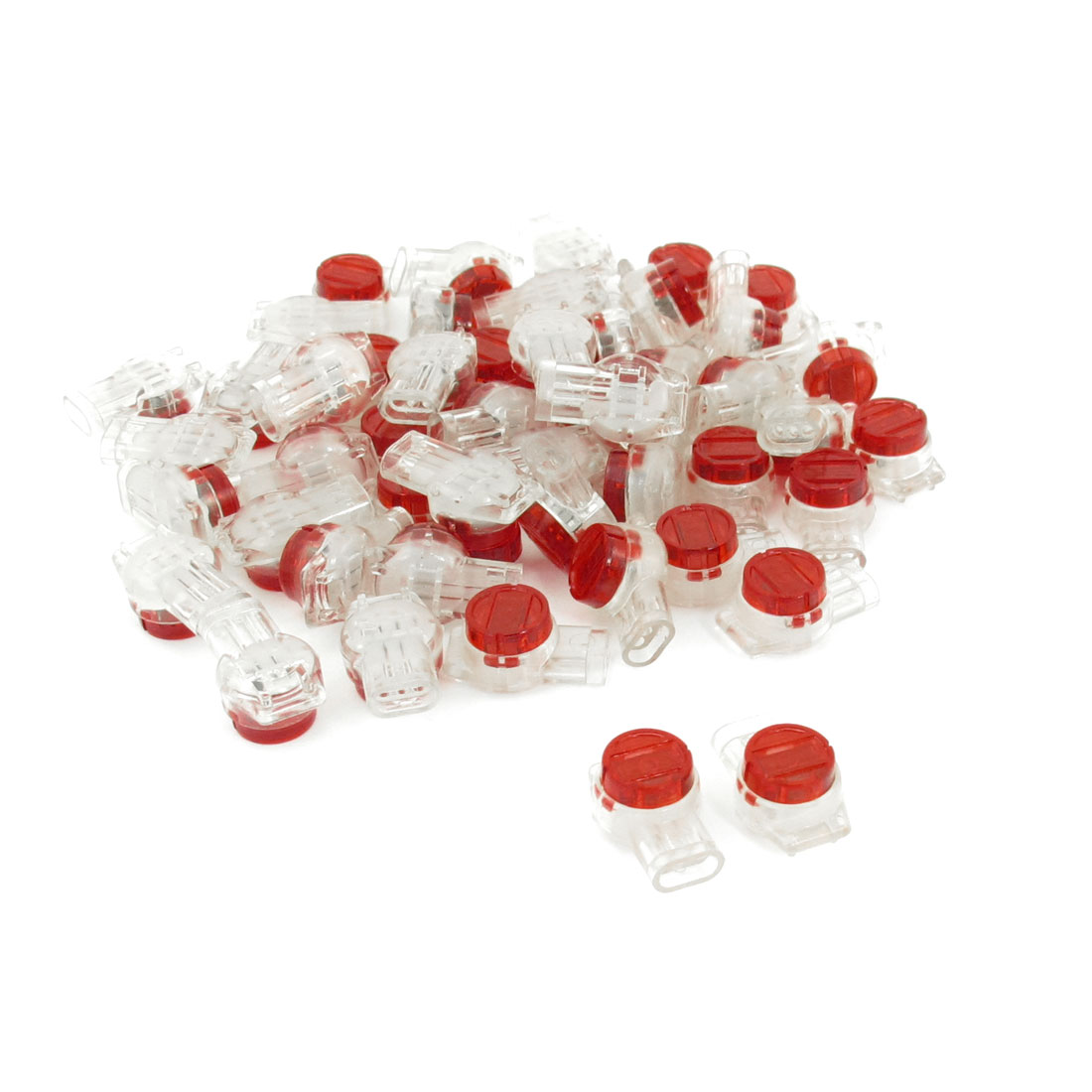 50 Pcs Red Clear Plastic Air Tight Button Cable UY Butt Splice Connectors