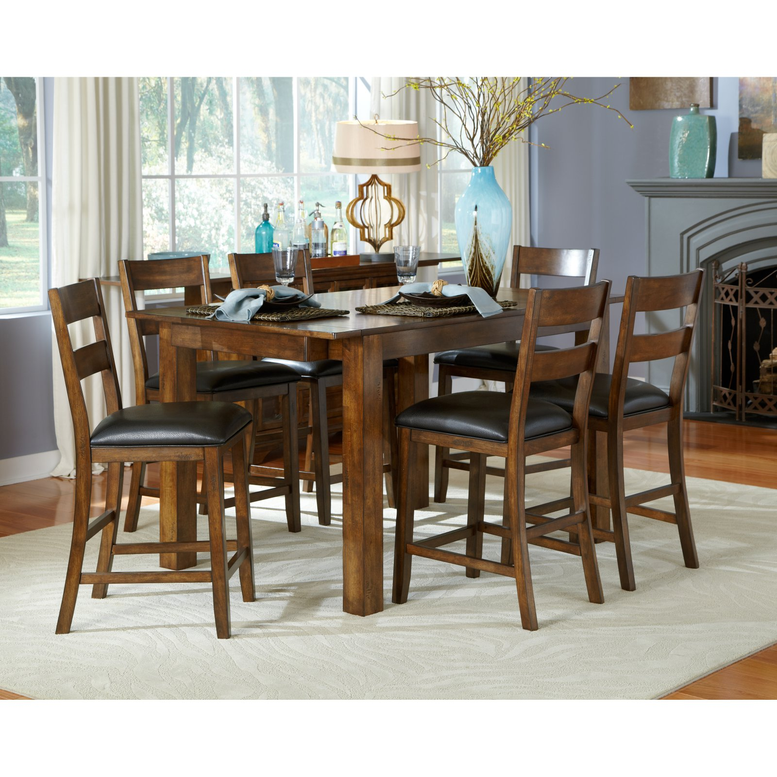 A-America Mariposa Gathering Counter Height Dining Table - Rustic Whiskey