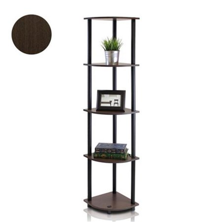 Turn-N-Tube 5 Tier Corner Display Rack Multipurpose Shelving Unit, Dark Brown Grain & Black - 57.7 x 11.6 x 11.6 in.