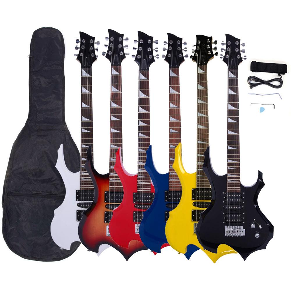 """Ktaxon 38"""" Beginner Flame Type Professional Electric Guitar With Bag,Pick,Strap,Tremolo Bar 6 Color"""