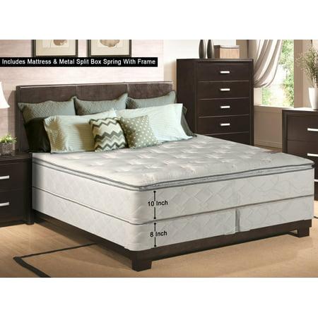 wayton 10 inch medium plush pillowtop innerspring type mattress and 8 split metal box spring. Black Bedroom Furniture Sets. Home Design Ideas