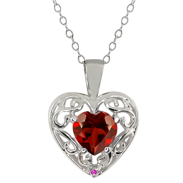 0.91 Ct Heart Shape Red Garnet Pink Sapphire 18K White Gold Pendant by