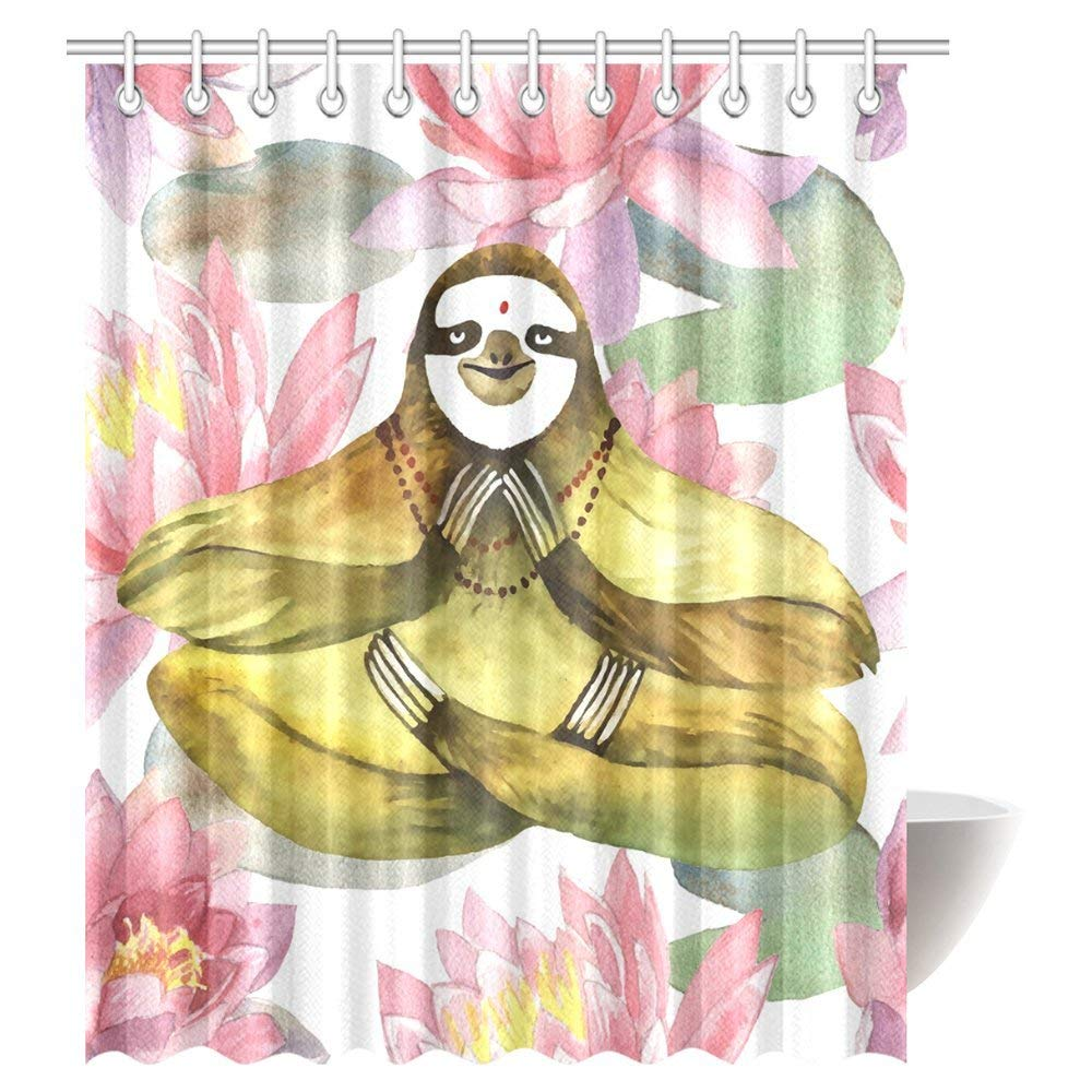 GCKG Funny Animal Sloth Shower Curtain, Sloth Yoga Hand Lotus Flowers Fabric Bathroom Shower Curtain 66x72 Inches - image 2 of 2