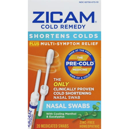 Zicam Cold Remedy Nasal Swabs, Shortens Colds, 20