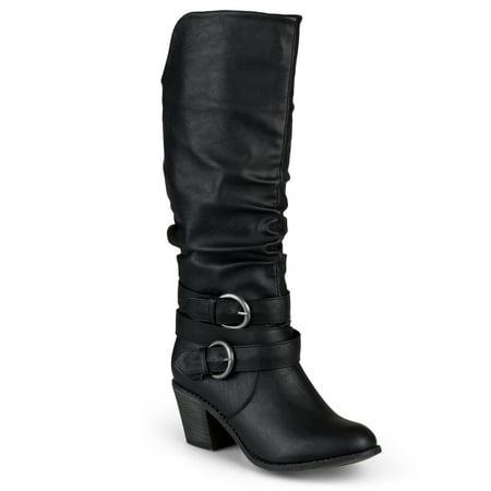 Women's Wide Calf Slouch Buckle High Heel Boots High Heel Western Boots