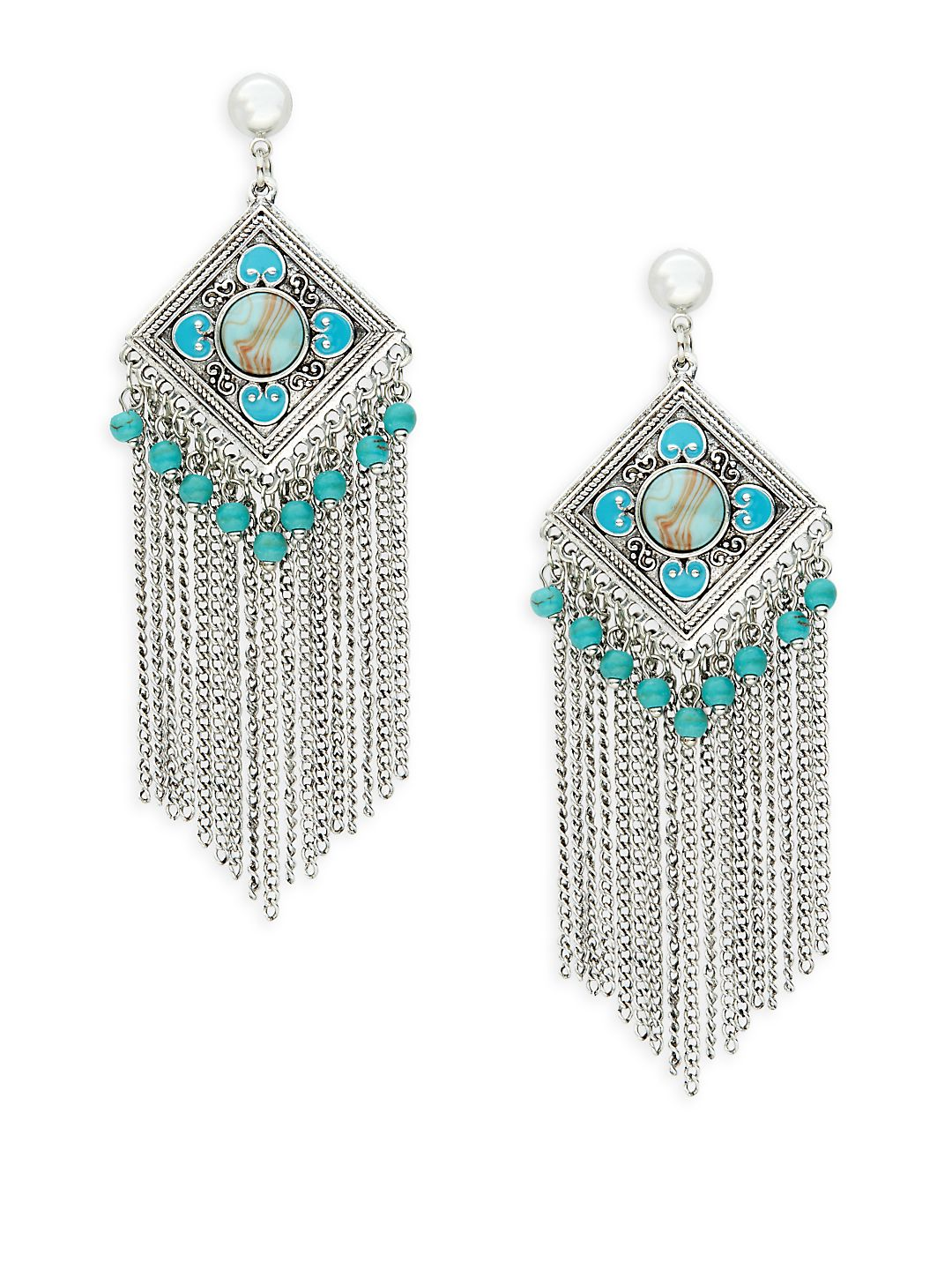 Silvertone Fringe Drop Earrings