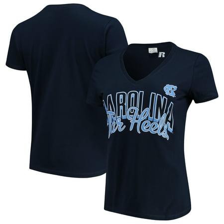 Women's Russell Navy North Carolina Tar Heels Arch V-Neck T-Shirt - Party City Asheville North Carolina