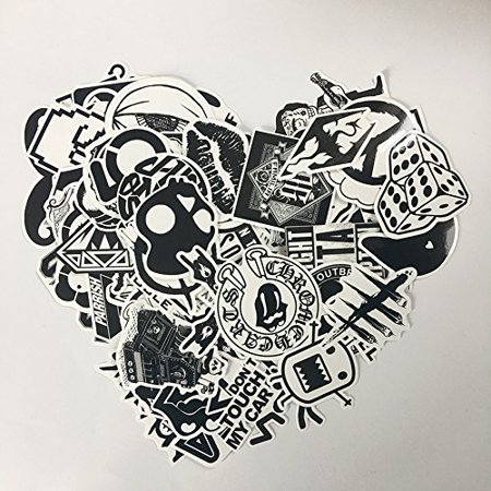 120PCS Black White Vinyl Sticker Graffiti Decal Perfect to Laptops, Skateboards, Luggage, Cars, Bumpers, Bikes, - image 2 of 6