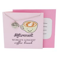 Quan Jewelry Coffee Cup Gifts Necklace for Coffee Lovers and Enthusiasts, Funny Coffee Mug Perfect Retirement Gift, Christmas or Birthday Gift, Caffeine Humor, Pun Greeting Cards