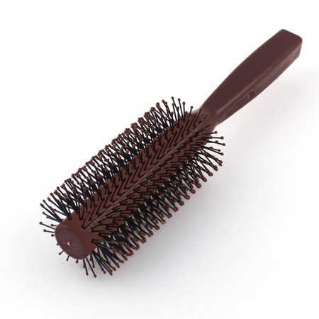 Ladies Curly Hair Style Combing Brush Plastic Round Comb Brown